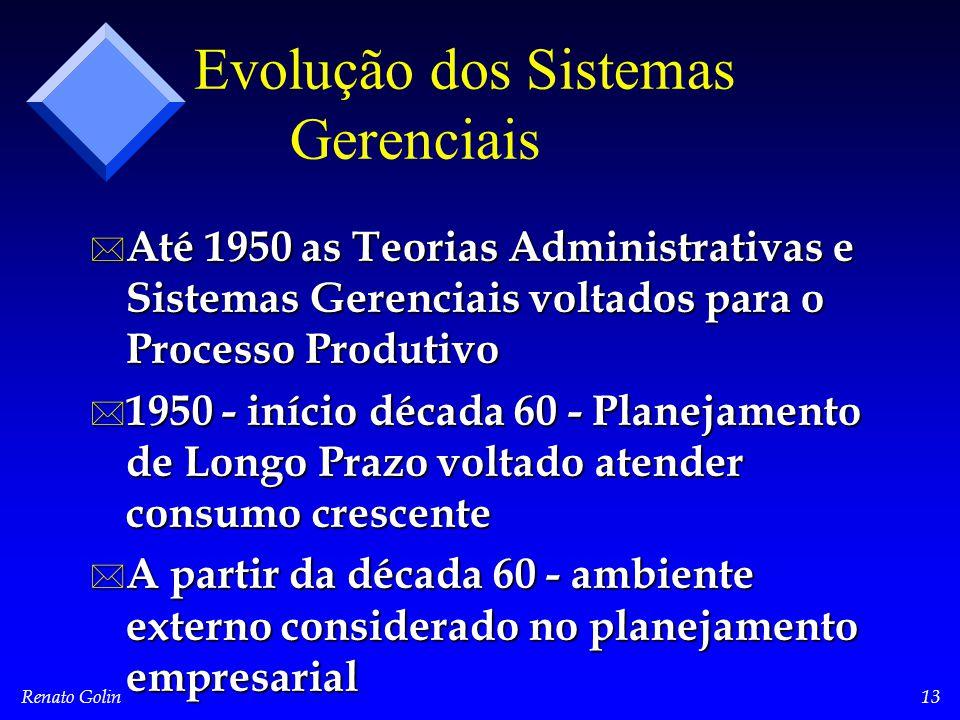 Renato Golin13 Evolução dos Sistemas Gerenciais * Até 1950 as Teorias Administrativas e Sistemas Gerenciais voltados para o Processo Produtivo * 1950 - início década 60 - Planejamento de Longo Prazo voltado atender consumo crescente * A partir da década 60 - ambiente externo considerado no planejamento empresarial