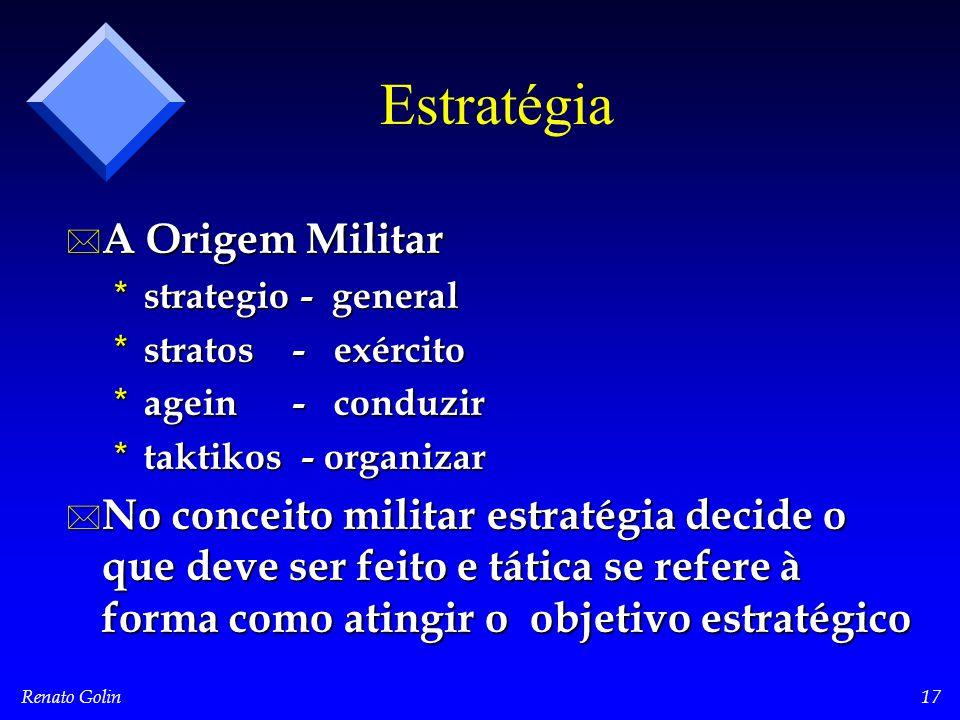 Renato Golin17 Estratégia * A Origem Militar * strategio - general * stratos - exército * agein - conduzir * taktikos - organizar * No conceito milita