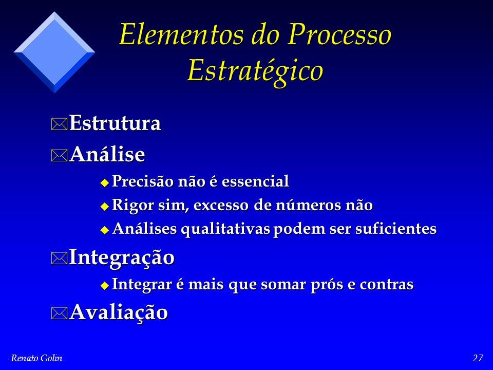 Renato Golin27 Elementos do Processo Estratégico * Estrutura * Análise u Precisão não é essencial u Rigor sim, excesso de números não u Análises quali