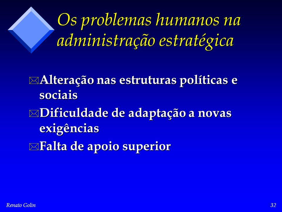 Renato Golin32 Os problemas humanos na administração estratégica * Alteração nas estruturas políticas e sociais * Dificuldade de adaptação a novas exigências * Falta de apoio superior