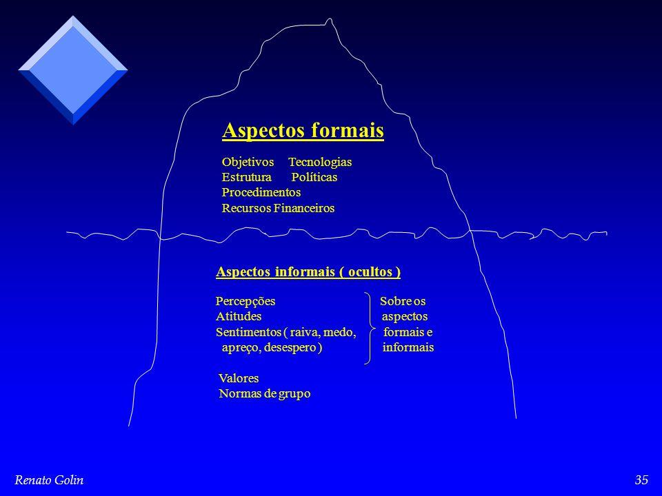 Renato Golin35 Aspectos formais Objetivos Tecnologias Estrutura Políticas Procedimentos Recursos Financeiros Aspectos informais ( ocultos ) Percepções Sobre os Atitudes aspectos Sentimentos ( raiva, medo, formais e apreço, desespero ) informais Valores Normas de grupo