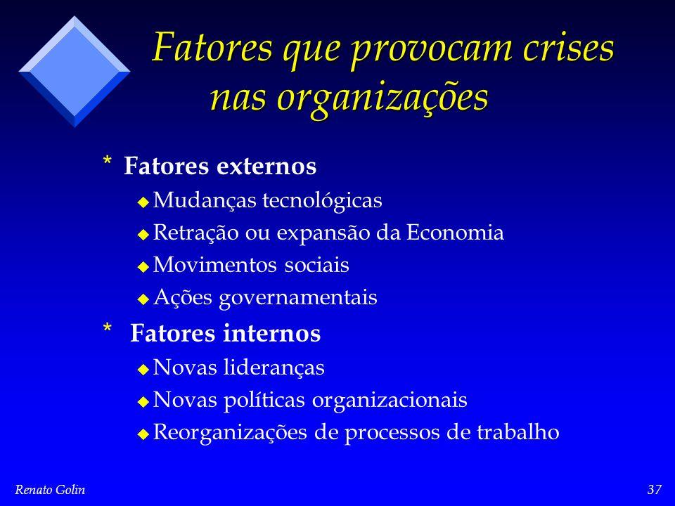 Renato Golin37 Fatores que provocam crises nas organizações * * Fatores externos u u Mudanças tecnológicas u u Retração ou expansão da Economia u u Mo