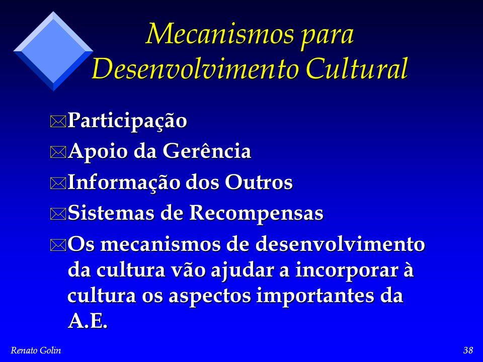 Renato Golin38 Mecanismos para Desenvolvimento Cultural * Participação * Apoio da Gerência * Informação dos Outros * Sistemas de Recompensas * Os mecanismos de desenvolvimento da cultura vão ajudar a incorporar à cultura os aspectos importantes da A.E.