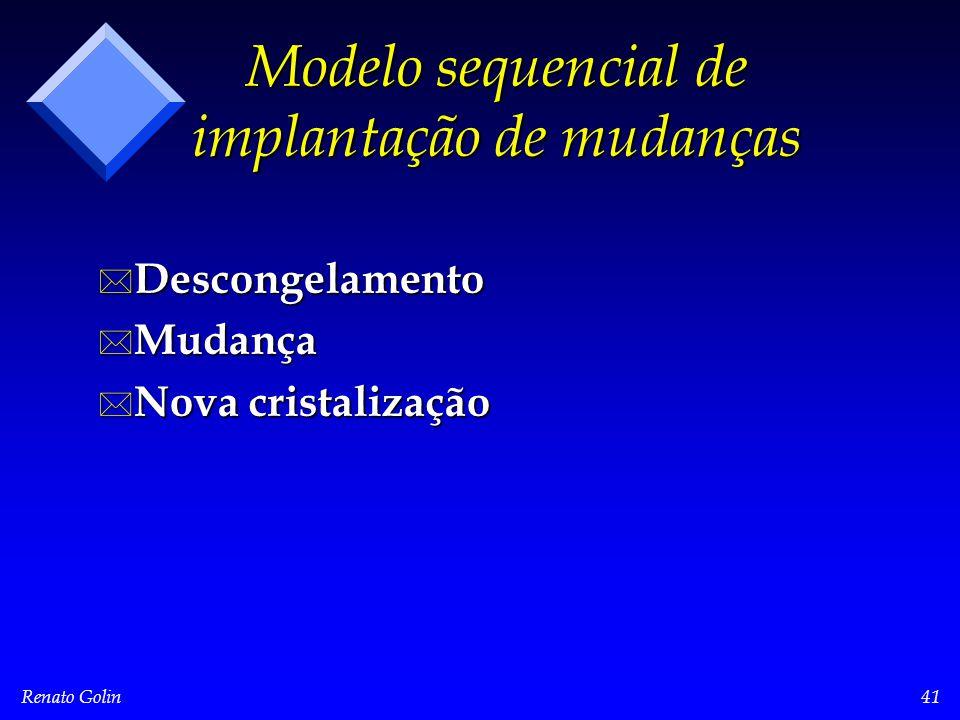 Renato Golin41 Modelo sequencial de implantação de mudanças * Descongelamento * Mudança * Nova cristalização