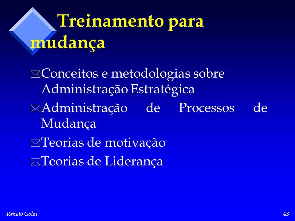 Renato Golin43 Treinamento para mudança * * Conceitos e metodologias sobre Administração Estratégica * * Administração de Processos de Mudança * * Teorias de motivação * * Teorias de Liderança