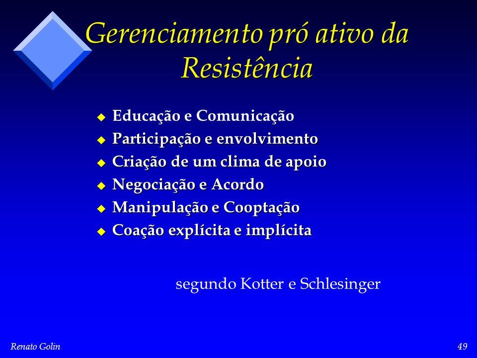 Renato Golin49 Gerenciamento pró ativo da Resistência u u Educação e Comunicação u Participação e envolvimento u Criação de um clima de apoio u Negociação e Acordo u Manipulação e Cooptação u Coação explícita e implícita segundo Kotter e Schlesinger