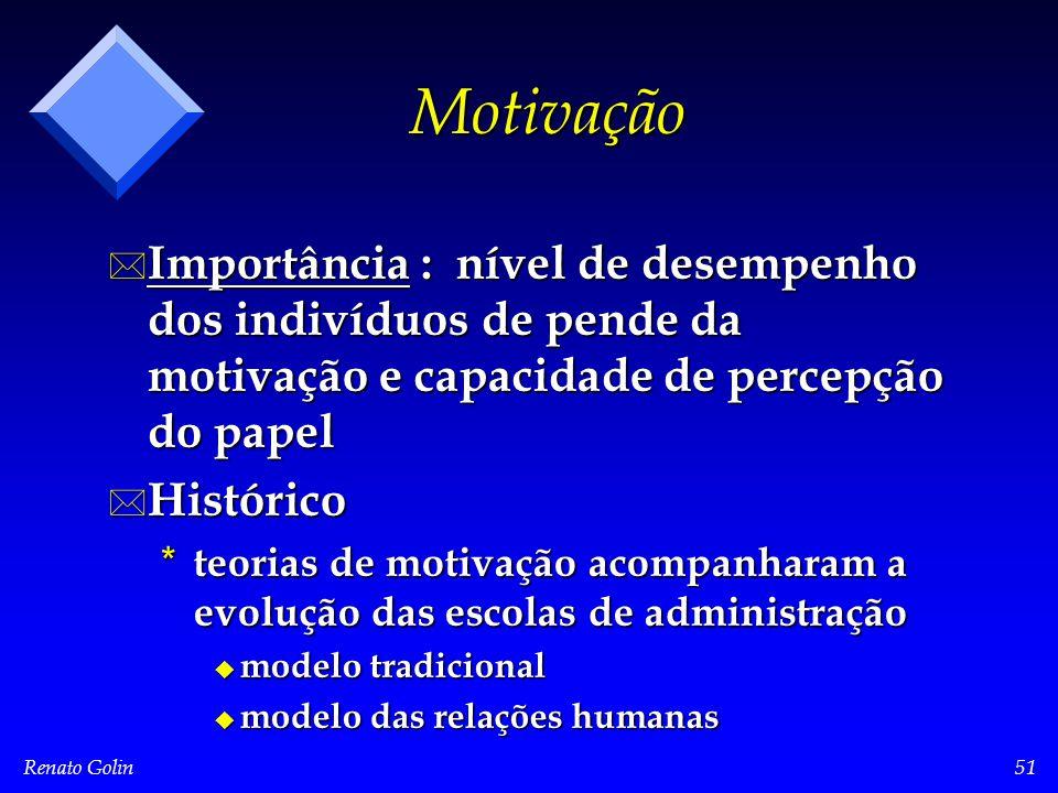 Renato Golin51 Motivação * Importância : nível de desempenho dos indivíduos de pende da motivação e capacidade de percepção do papel * Histórico * teo