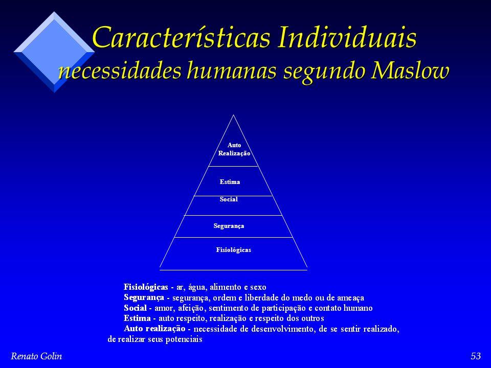 Renato Golin53 Características Individuais necessidades humanas segundo Maslow Auto Realização Social Estima Segurança Fisiológicas