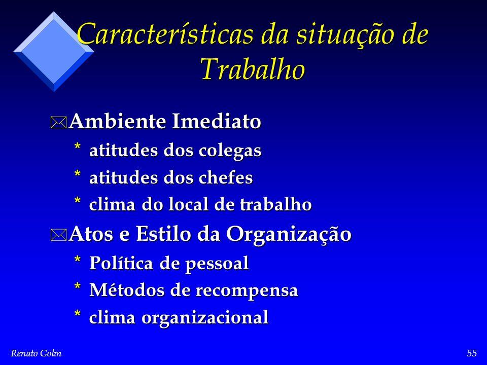 Renato Golin55 Características da situação de Trabalho * Ambiente Imediato * atitudes dos colegas * atitudes dos chefes * clima do local de trabalho *