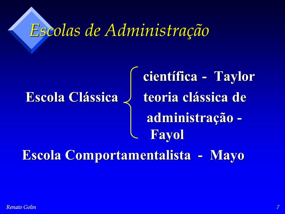 Renato Golin8 Escola Comportamentalista Elton Mayo ( 1880 - 1949 ) * Efeito de Hawthorne * Homem racional  Homem social * Cientistas do comportamento * Abraham Maslow - auto realização