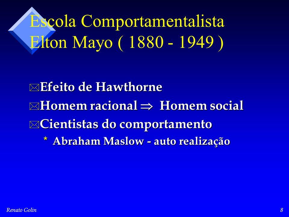 Renato Golin8 Escola Comportamentalista Elton Mayo ( 1880 - 1949 ) * Efeito de Hawthorne * Homem racional  Homem social * Cientistas do comportamento