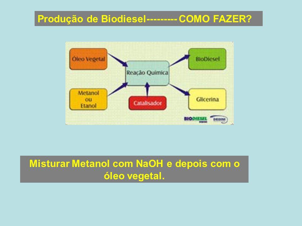 Produção de Biodiesel--------- COMO FAZER? Misturar Metanol com NaOH e depois com o óleo vegetal.