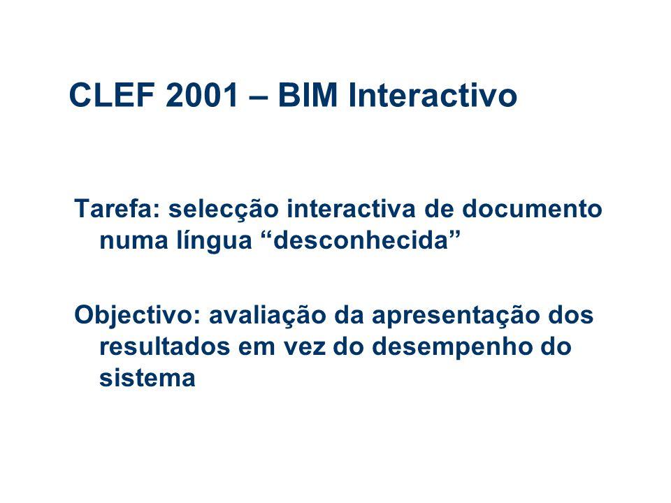 CLEF 2001 – BIM Interactivo Tarefa: selecção interactiva de documento numa língua desconhecida Objectivo: avaliação da apresentação dos resultados em vez do desempenho do sistema