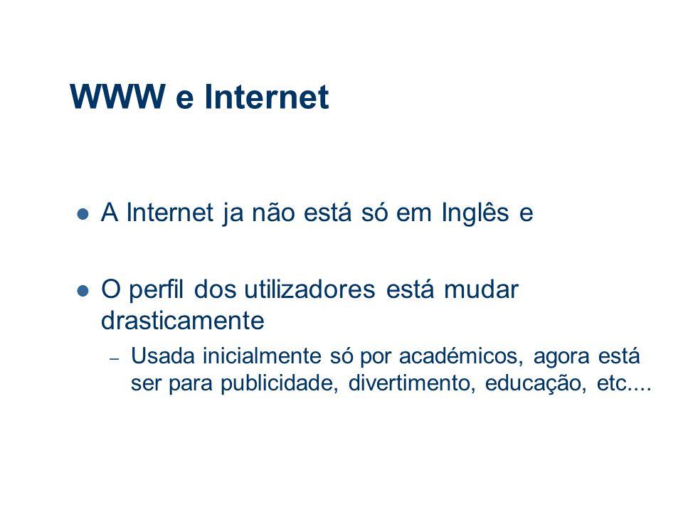WWW e Internet A Internet ja não está só em Inglês e O perfil dos utilizadores está mudar drasticamente – Usada inicialmente só por académicos, agora está ser para publicidade, divertimento, educação, etc....