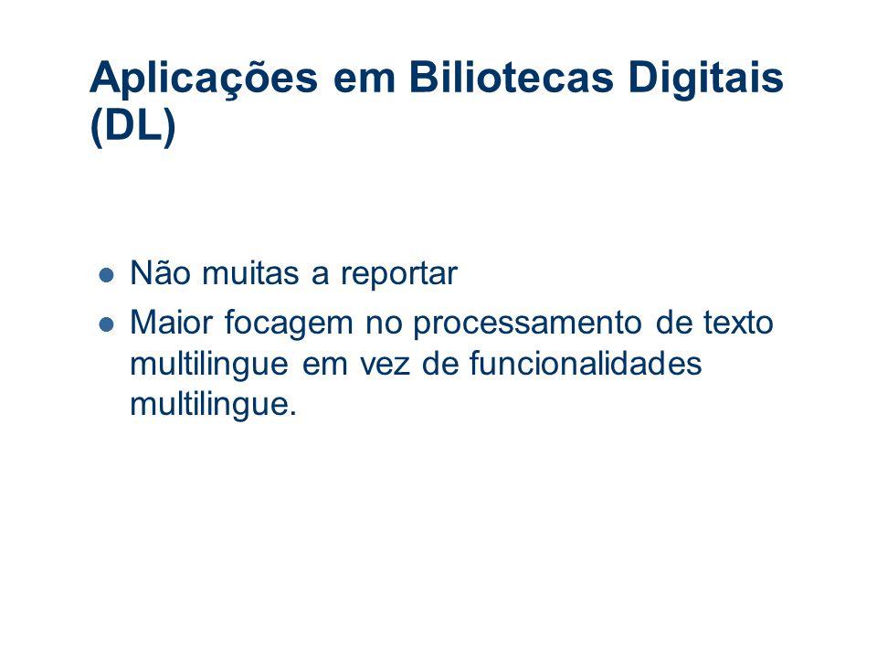 Aplicações em Biliotecas Digitais (DL) Não muitas a reportar Maior focagem no processamento de texto multilingue em vez de funcionalidades multilingue.