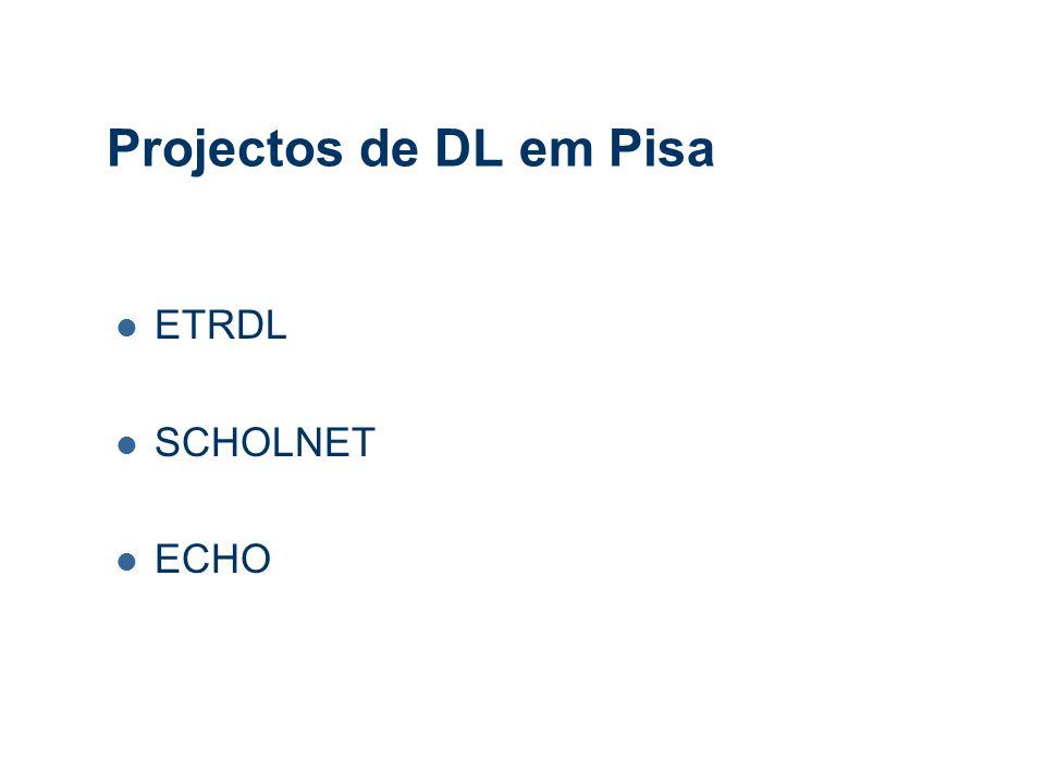 Projectos de DL em Pisa ETRDL SCHOLNET ECHO