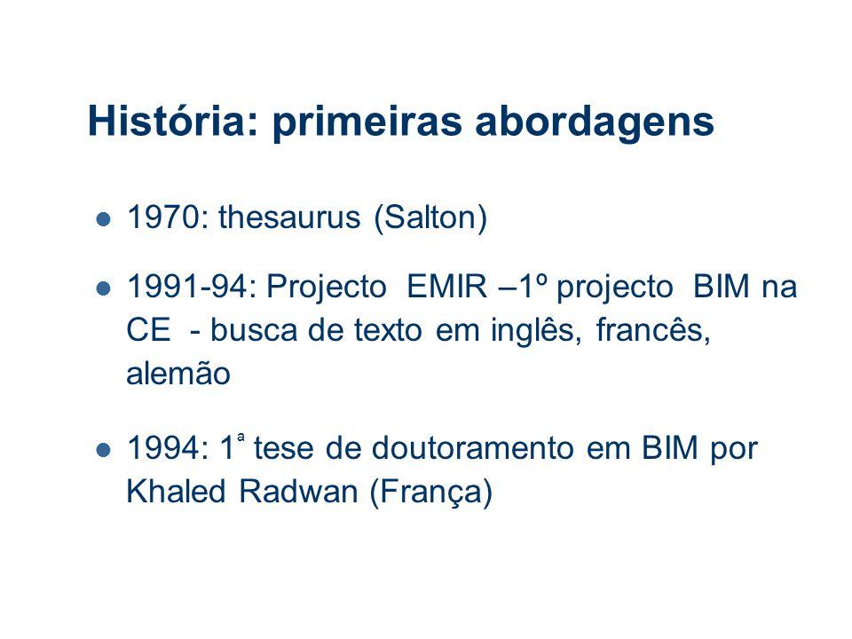 História: primeiras abordagens 1970: thesaurus (Salton) 1991-94: Projecto EMIR –1º projecto BIM na CE - busca de texto em inglês, francês, alemão 1994: 1 ª tese de doutoramento em BIM por Khaled Radwan (França)