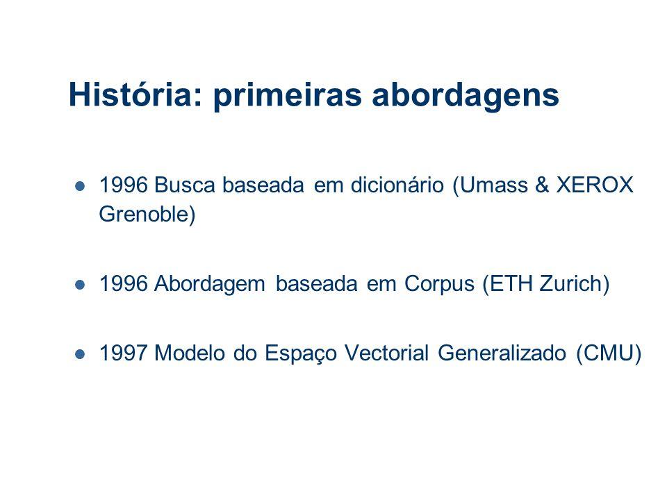 História: primeiras abordagens 1996 Busca baseada em dicionário (Umass & XEROX Grenoble) 1996 Abordagem baseada em Corpus (ETH Zurich) 1997 Modelo do Espaço Vectorial Generalizado (CMU)