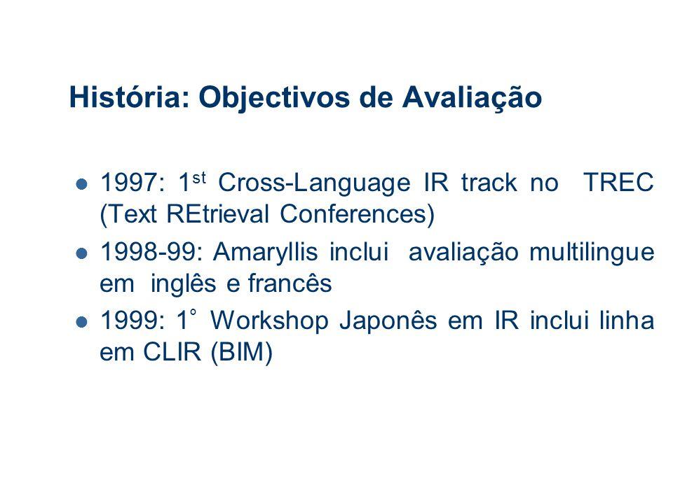 História: Objectivos de Avaliação 1997: 1 st Cross-Language IR track no TREC (Text REtrieval Conferences) 1998-99: Amaryllis inclui avaliação multilingue em inglês e francês 1999: 1 º Workshop Japonês em IR inclui linha em CLIR (BIM)