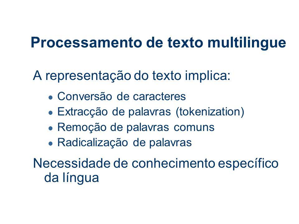 Processamento de texto multilingue A representação do texto implica: l Conversão de caracteres l Extracção de palavras (tokenization) l Remoção de palavras comuns l Radicalização de palavras Necessidade de conhecimento específico da língua