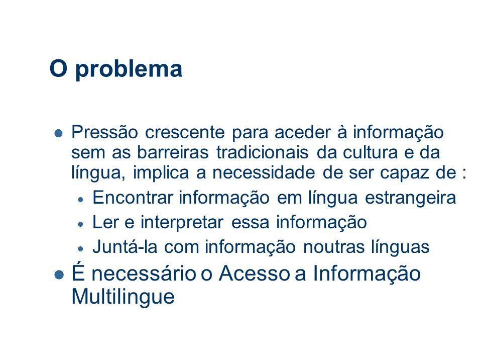História: Objectivos da Comunidade de I&D 1997: EU-NSF Working Group em Acesso a Informação Multilingue (Multilingual Information Access).