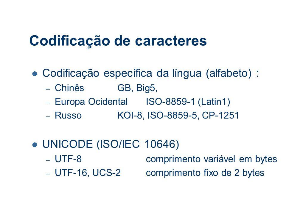 Codificação de caracteres Codificação específica da língua (alfabeto) : – ChinêsGB, Big5, – Europa OcidentalISO-8859-1 (Latin1) – RussoKOI-8, ISO-8859-5, CP-1251 UNICODE (ISO/IEC 10646) – UTF-8comprimento variável em bytes – UTF-16, UCS-2comprimento fixo de 2 bytes