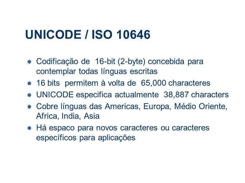 UNICODE / ISO 10646 Codificação de 16-bit (2-byte) concebida para contemplar todas línguas escritas 16 bits permitem à volta de 65,000 characteres UNICODE especifica actualmente 38,887 characters Cobre línguas das Americas, Europa, Médio Oriente, Africa, India, Asia Há espaco para novos caracteres ou caracteres específicos para aplicações