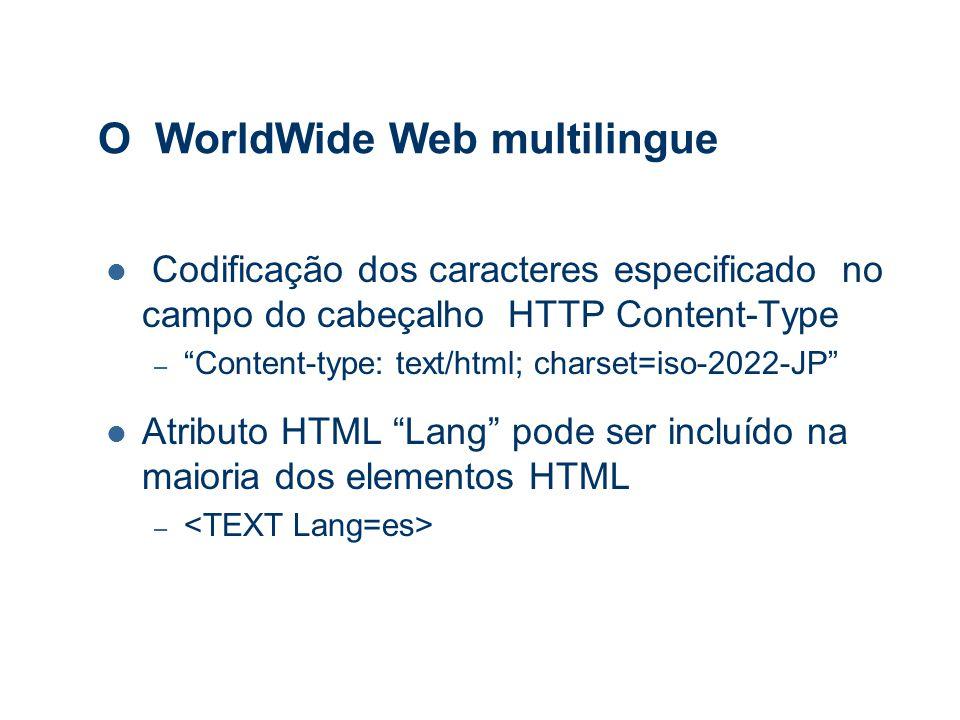 O WorldWide Web multilingue Codificação dos caracteres especificado no campo do cabeçalho HTTP Content-Type – Content-type: text/html; charset=iso-2022-JP Atributo HTML Lang pode ser incluído na maioria dos elementos HTML –