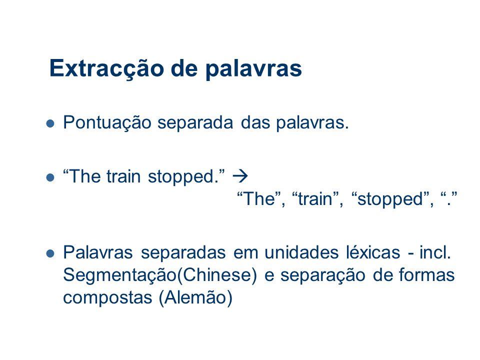 Extracção de palavras Pontuação separada das palavras.