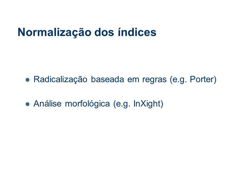 Normalização dos índices Radicalização baseada em regras (e.g.