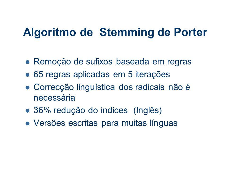 Algoritmo de Stemming de Porter Remoção de sufixos baseada em regras 65 regras aplicadas em 5 iterações Correcção linguística dos radicais não é necessária 36% redução do índices (Inglês) Versões escritas para muitas línguas