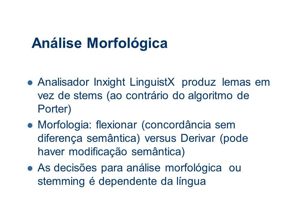 Análise Morfológica Analisador Inxight LinguistX produz lemas em vez de stems (ao contrário do algoritmo de Porter) Morfologia: flexionar (concordância sem diferença semântica) versus Derivar (pode haver modificação semântica) As decisões para análise morfológica ou stemming é dependente da língua