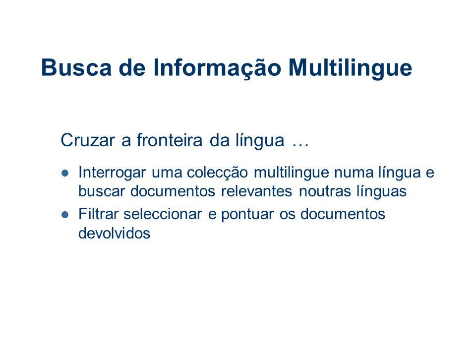 Desafios Suportar o acesso à informação multilingue em vários média (texto, voz e video) Indexar informação em língua estrangeira Buscar informação em várias línguas com uma única interrogação Permitir a navegação na informação devolvida na língua do utilizador