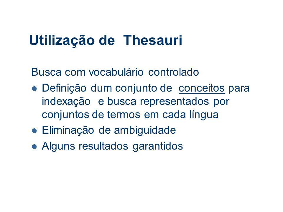 Utilização de Thesauri Busca com vocabulário controlado Definição dum conjunto de conceitos para indexação e busca representados por conjuntos de termos em cada língua Eliminação de ambiguidade Alguns resultados garantidos