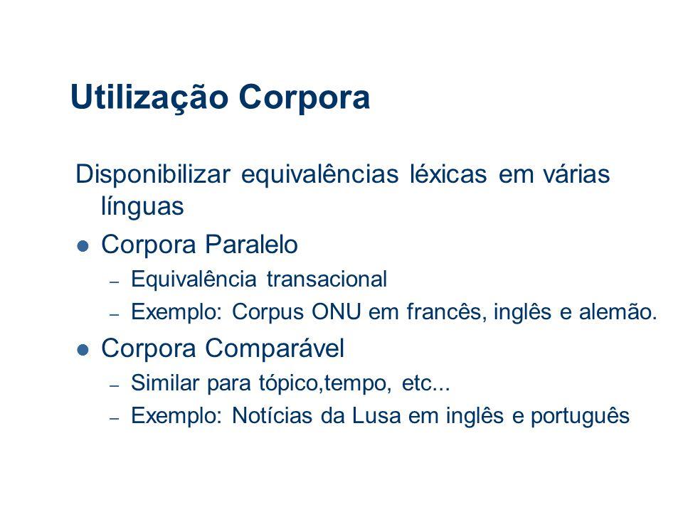 Utilização Corpora Disponibilizar equivalências léxicas em várias línguas Corpora Paralelo – Equivalência transacional – Exemplo: Corpus ONU em francês, inglês e alemão.