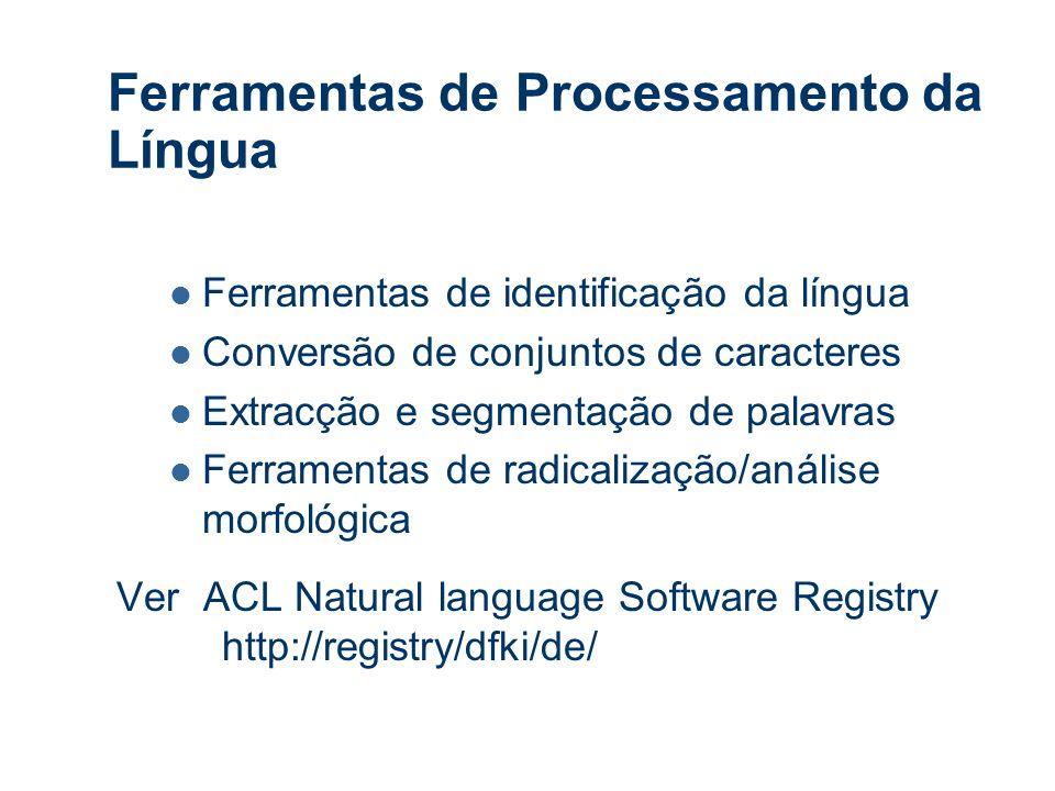 Ferramentas de Processamento da Língua Ferramentas de identificação da língua Conversão de conjuntos de caracteres Extracção e segmentação de palavras Ferramentas de radicalização/análise morfológica Ver ACL Natural language Software Registry http://registry/dfki/de/