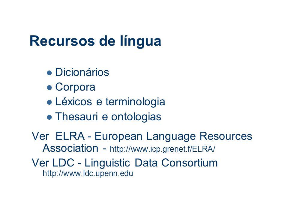 Recursos de língua Dicionários Corpora Léxicos e terminologia Thesauri e ontologias Ver ELRA - European Language Resources Association - http://www.icp.grenet.f/ELRA/ Ver LDC - Linguistic Data Consortium http://www.ldc.upenn.edu