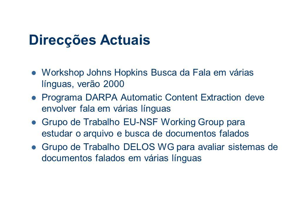 Direcções Actuais Workshop Johns Hopkins Busca da Fala em várias línguas, verão 2000 Programa DARPA Automatic Content Extraction deve envolver fala em várias línguas Grupo de Trabalho EU-NSF Working Group para estudar o arquivo e busca de documentos falados Grupo de Trabalho DELOS WG para avaliar sistemas de documentos falados em várias línguas
