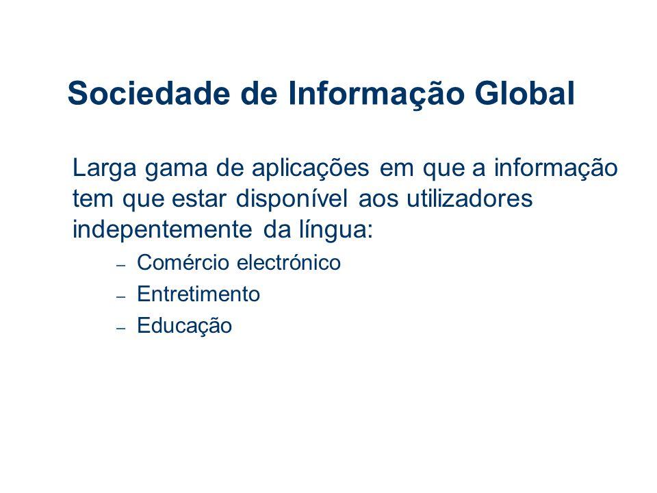 Sociedade de Informação Global Larga gama de aplicações em que a informação tem que estar disponível aos utilizadores indepentemente da língua: – Comércio electrónico – Entretimento – Educação
