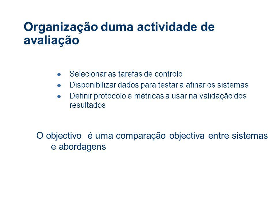 Organização duma actividade de avaliação Selecionar as tarefas de controlo Disponibilizar dados para testar a afinar os sistemas Definir protocolo e métricas a usar na validação dos resultados O objectivo é uma comparação objectiva entre sistemas e abordagens