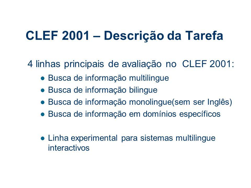 CLEF 2001 – Descrição da Tarefa 4 linhas principais de avaliação no CLEF 2001: Busca de informação multilingue Busca de informação bilingue Busca de informação monolingue(sem ser Inglês) Busca de informação em domínios específicos Linha experimental para sistemas multilingue interactivos