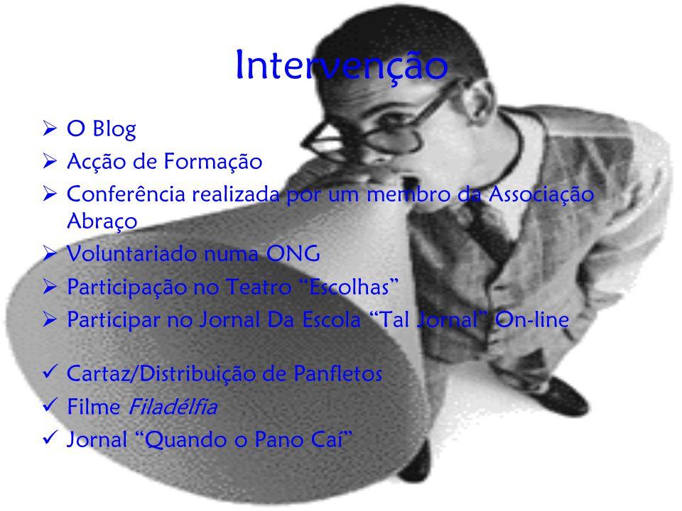 """Intervenção  O Blog  Acção de Formação  Conferência realizada por um membro da Associação Abraço  Voluntariado numa ONG  Participação no Teatro """""""