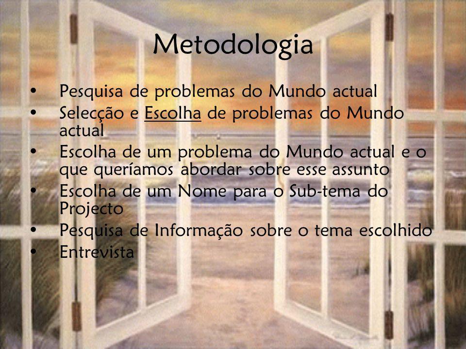 Metodologia Pesquisa de problemas do Mundo actual Selecção e Escolha de problemas do Mundo actual Escolha de um problema do Mundo actual e o que querí