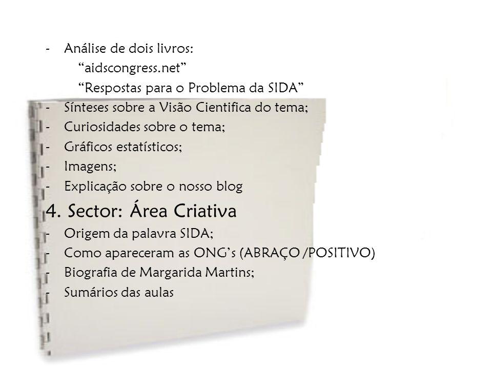 """-Análise de dois livros: """"aidscongress.net"""" """"Respostas para o Problema da SIDA"""" -Sínteses sobre a Visão Cientifica do tema; -Curiosidades sobre o tema"""