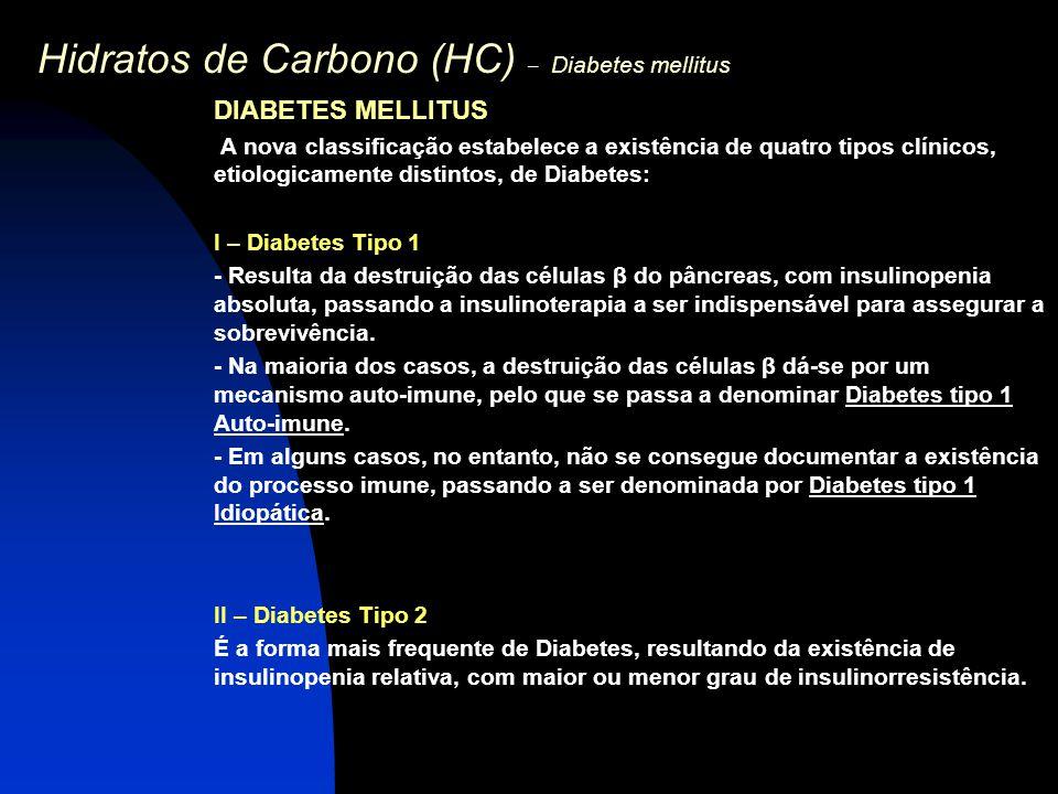 Hidratos de Carbono (HC) – Diabetes mellitus DIABETES MELLITUS A nova classificação estabelece a existência de quatro tipos clínicos, etiologicamente