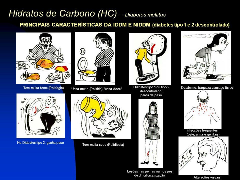 Hidratos de Carbono (HC) – Diabetes mellitus PRINCIPAIS CARACTERÍSTICAS DA IDDM E NIDDM (diabetes tipo 1 e 2 descontrolado) Tem muita fome (Polifagia)