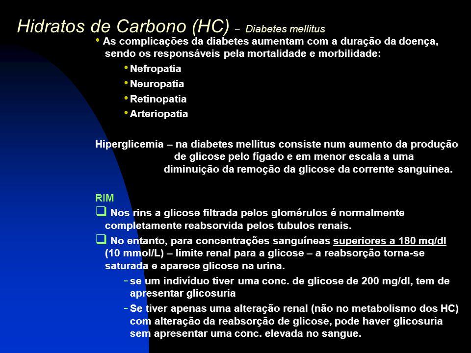 Hidratos de Carbono (HC) – Diabetes mellitus As complicações da diabetes aumentam com a duração da doença, sendo os responsáveis pela mortalidade e mo