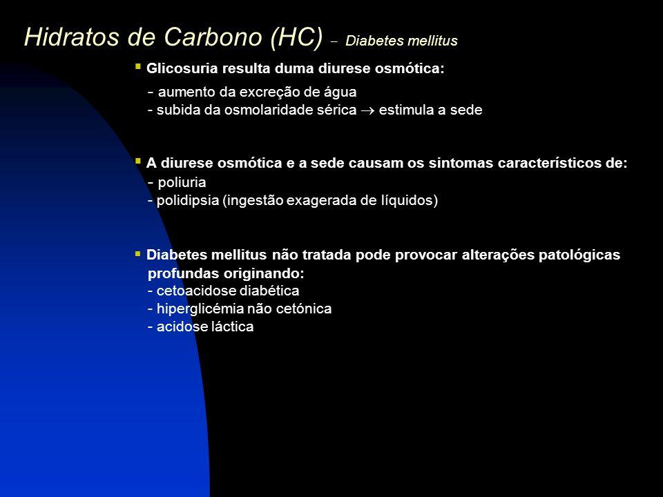 Hidratos de Carbono (HC) – Diabetes mellitus  Glicosuria resulta duma diurese osmótica: - aumento da excreção de água - subida da osmolaridade sérica