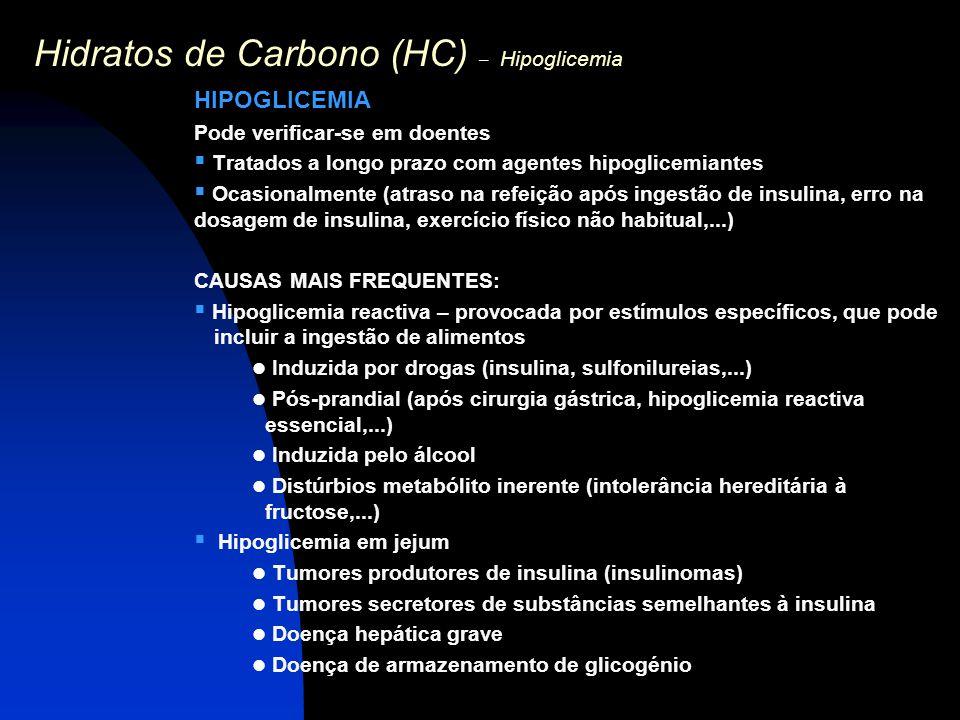 Hidratos de Carbono (HC) – Hipoglicemia HIPOGLICEMIA Pode verificar-se em doentes  Tratados a longo prazo com agentes hipoglicemiantes  Ocasionalmen