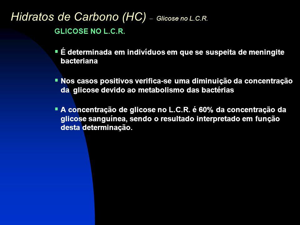 Hidratos de Carbono (HC) – Glicose no L.C.R. GLICOSE NO L.C.R.  É determinada em indivíduos em que se suspeita de meningite bacteriana  Nos casos po